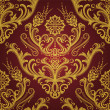 Luxury red & gold floral damask wallpaper — Vector de stock