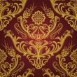 Stock Vector: Luxury red & gold floral damask wallpaper