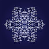 Detailed snowflake on dark blue background — Stock Vector