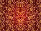Sömlös rött och guld blommiga vintage tapeter — Stockvektor