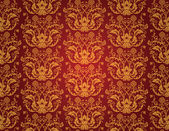 Seamless red and gold floral vintage wallpaper — Stock Vector