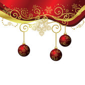 Red & gold Christmas border isolated — Stock vektor