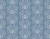 Seamless blue floral damask wallpaper — Stock Vector