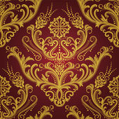 Luxury red & gold floral damask wallpaper — Stok Vektör