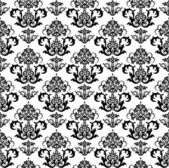Seamless black and white floral wallpaper — ストックベクタ