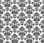 シームレスな黒と白の花の壁紙 — ストックベクタ