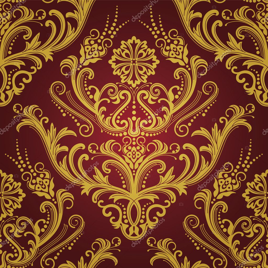 luxury red  u0026 gold floral damask wallpaper  u2014 stock vector  u00a9 lina s  4346894