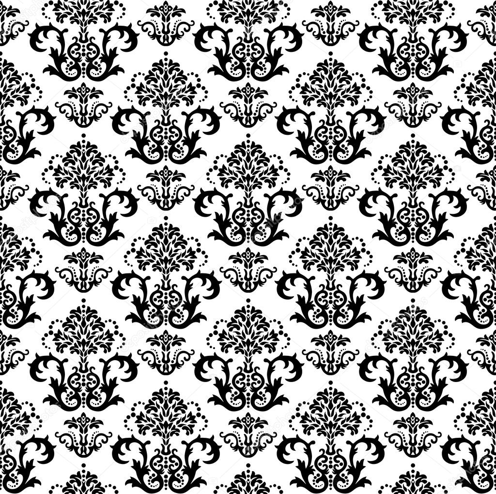 Seamless black and white floral wallpaper. This image is a vector illustration. — Stock Vector #4348660