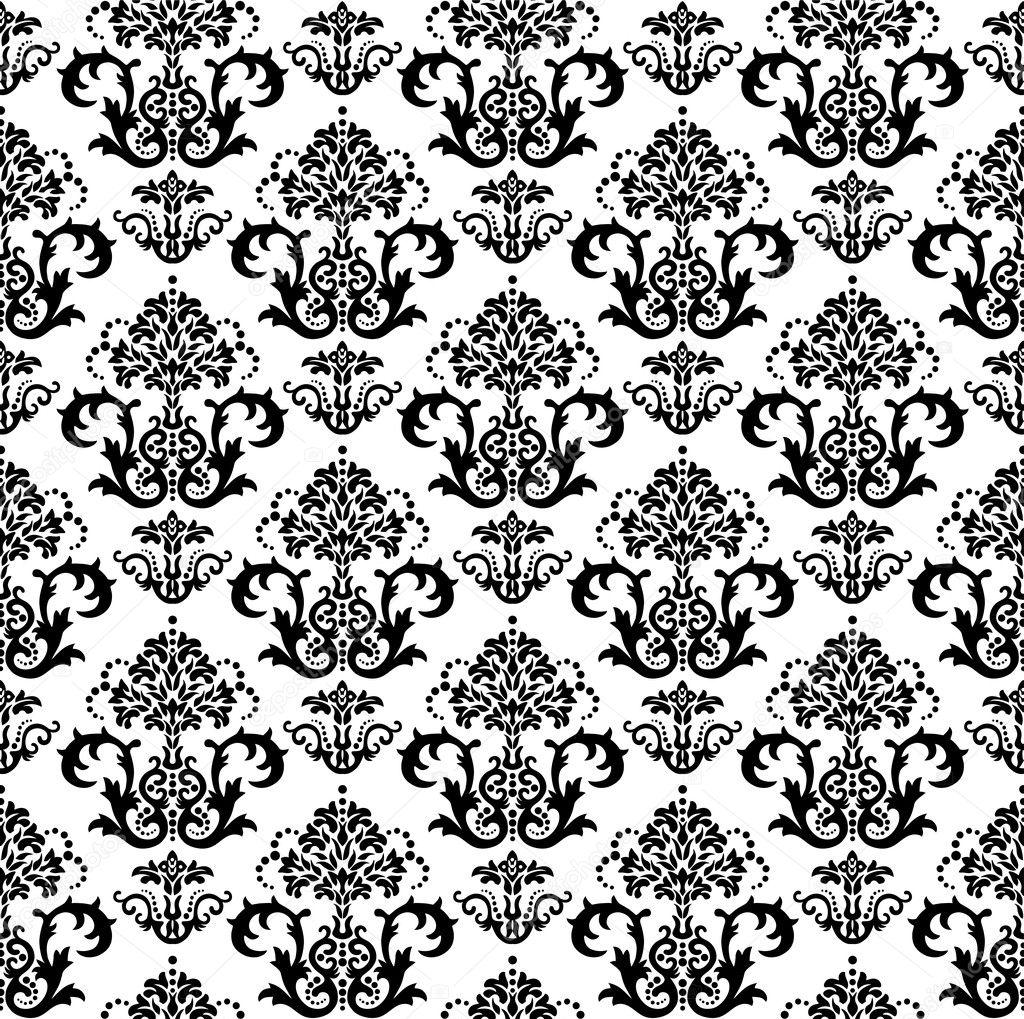 nahtlose schwarz wei floral tapete stockvektor lina s 4348660. Black Bedroom Furniture Sets. Home Design Ideas