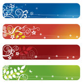 Four floral banners or bookmarks — Stock Vector