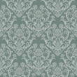 Seamless green floral damask wallpaper - Stok Vektör
