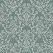 Seamless green floral damask wallpaper -  