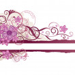 Pink floral banner with space for text — Stock Vector