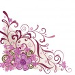 Pink floral corner design element — Image vectorielle