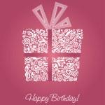 Pink happy birthday card — Stock Vector