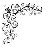 çiçekli köşe tasarım öğesi — Stok Vektör