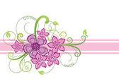 花のボーダー設計 — ストックベクタ