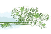 Green floral border element — Stock Vector