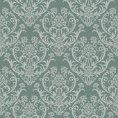 Seamless green floral damask wallpaper — Vector de stock