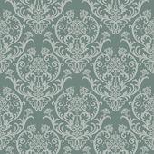 Sömlös gröna blommiga damast tapeter — Stockvektor