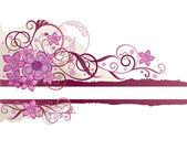 テキスト用のスペースとピンクの花のバナー — ストックベクタ
