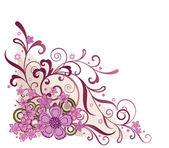 Pembe çiçekli köşe tasarım öğesi — Stok Vektör