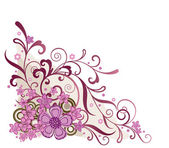 Pink floral hoek ontwerpelement — Stockvector