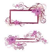 Cornice floreale rosa e banner design — Vettoriale Stock