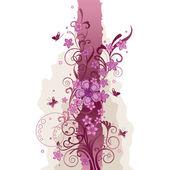 ピンクの花と蝶の罫線 — ストックベクタ