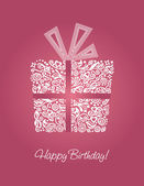 Pink happy birthday card — Vetor de Stock