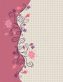 Pink vector flowers border — Stok Vektör