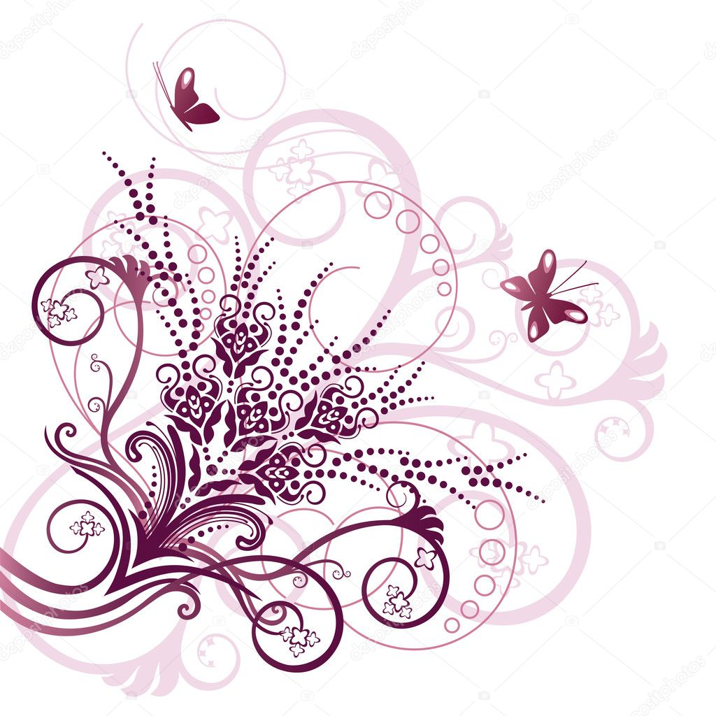 Pink floral corner design element. This image is a vector illustration. — Stock Vector #4551985