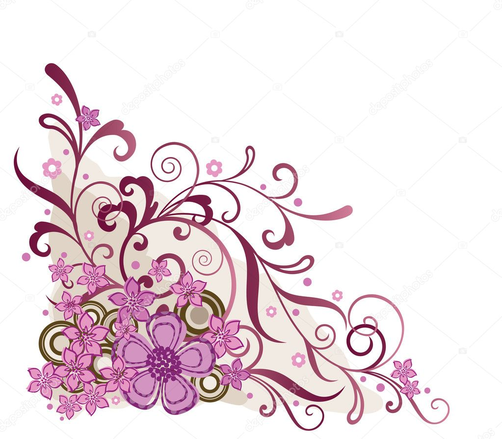 Pink floral corner design element. This image is a vector illustration. — Stock Vector #4551990