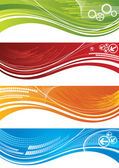 Set of colourful technical banners — Stock Vector