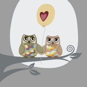 Two owls and love balloon illustration — Stock Vector