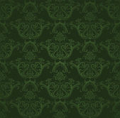 Seamless dark green floral wallpaper — Stock Vector