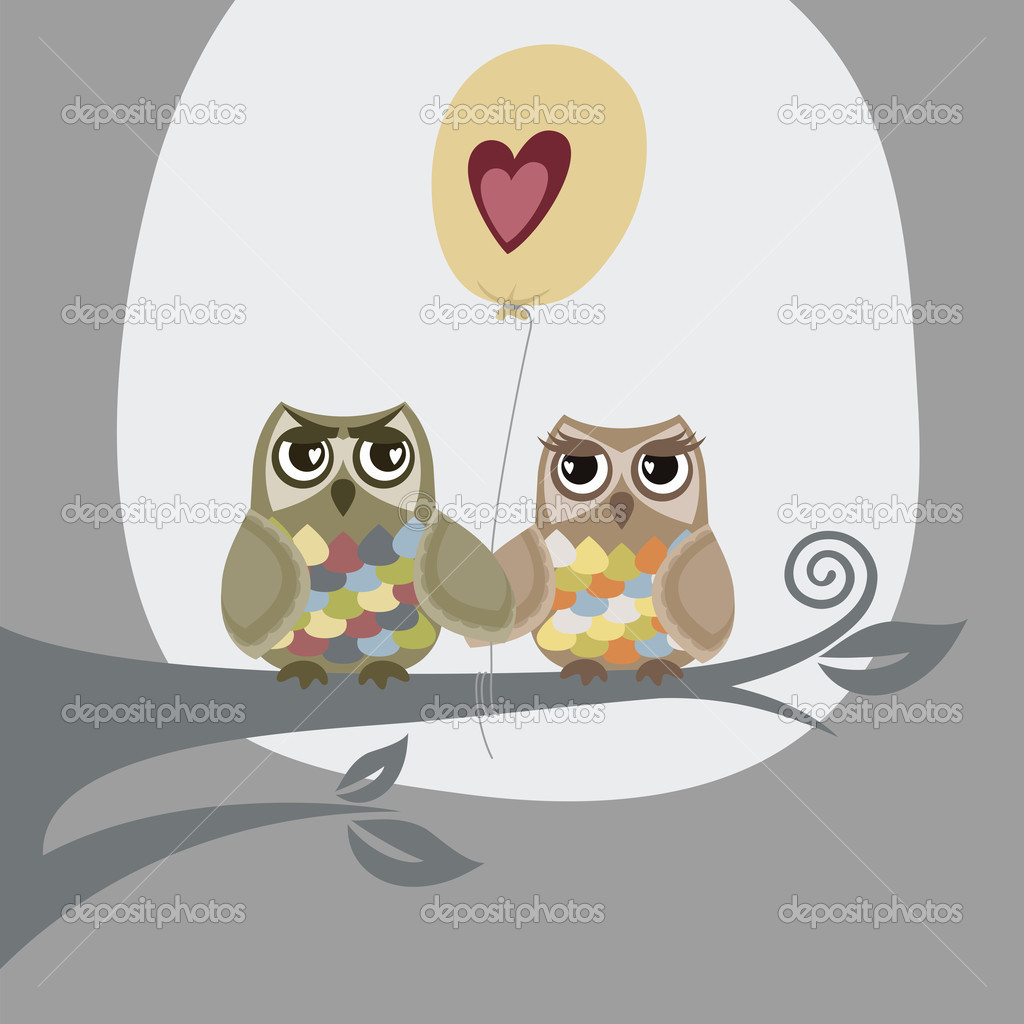 Two owls and love balloon greeting card. This image is a vector illustration. — Stock Vector #4829057