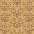 Seamless Brown Damask Wallpaper — Stock Vector