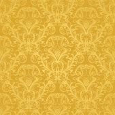Lyx sömlös gyllene blommiga tapeter — Stockvektor