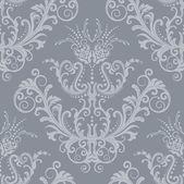 Luxe zilveren floral vintage wallpaper — Stockvector