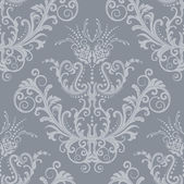 Luxury silver floral vintage wallpaper — Stockvector
