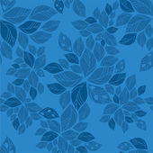 Seamless blue leaves pattern — Stockvektor