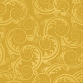 Seamless golden swirls and leaves wallpaper — Stock Vector