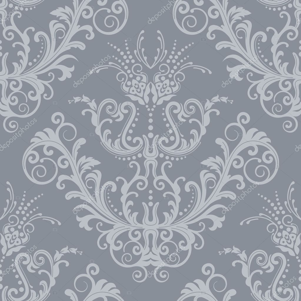 Floral Silver Background Wallpaper