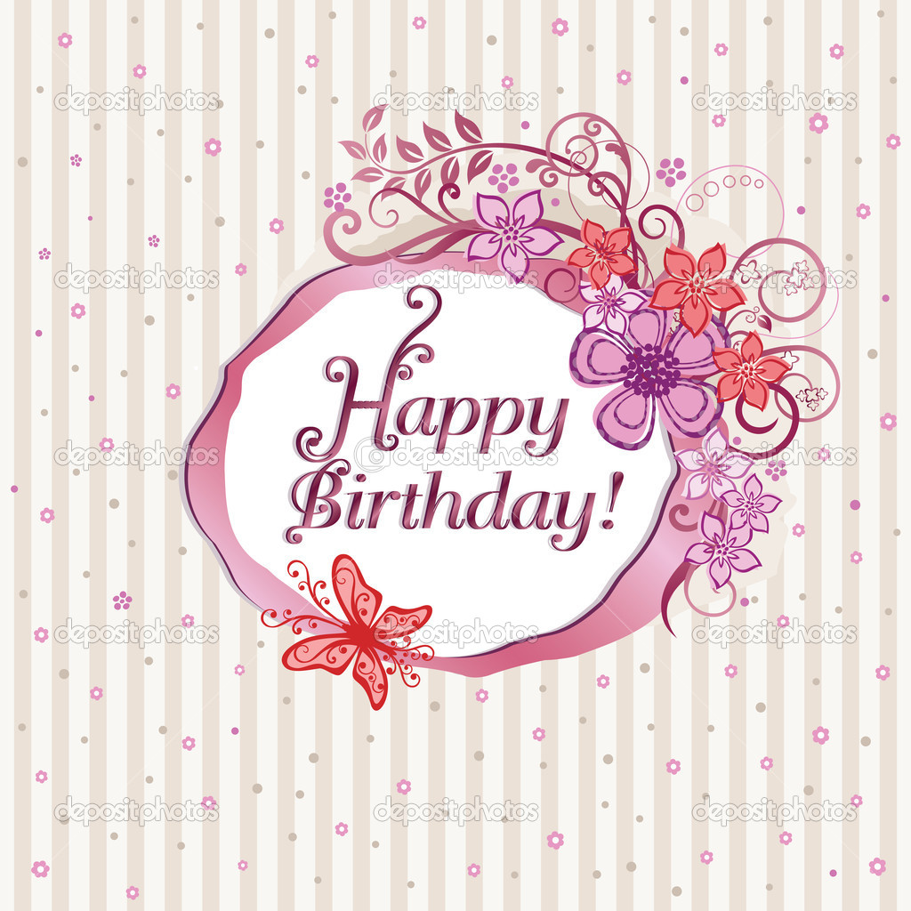Pink floral happy birthday card. This image is a vector illustration. — Stock Vector #4843940