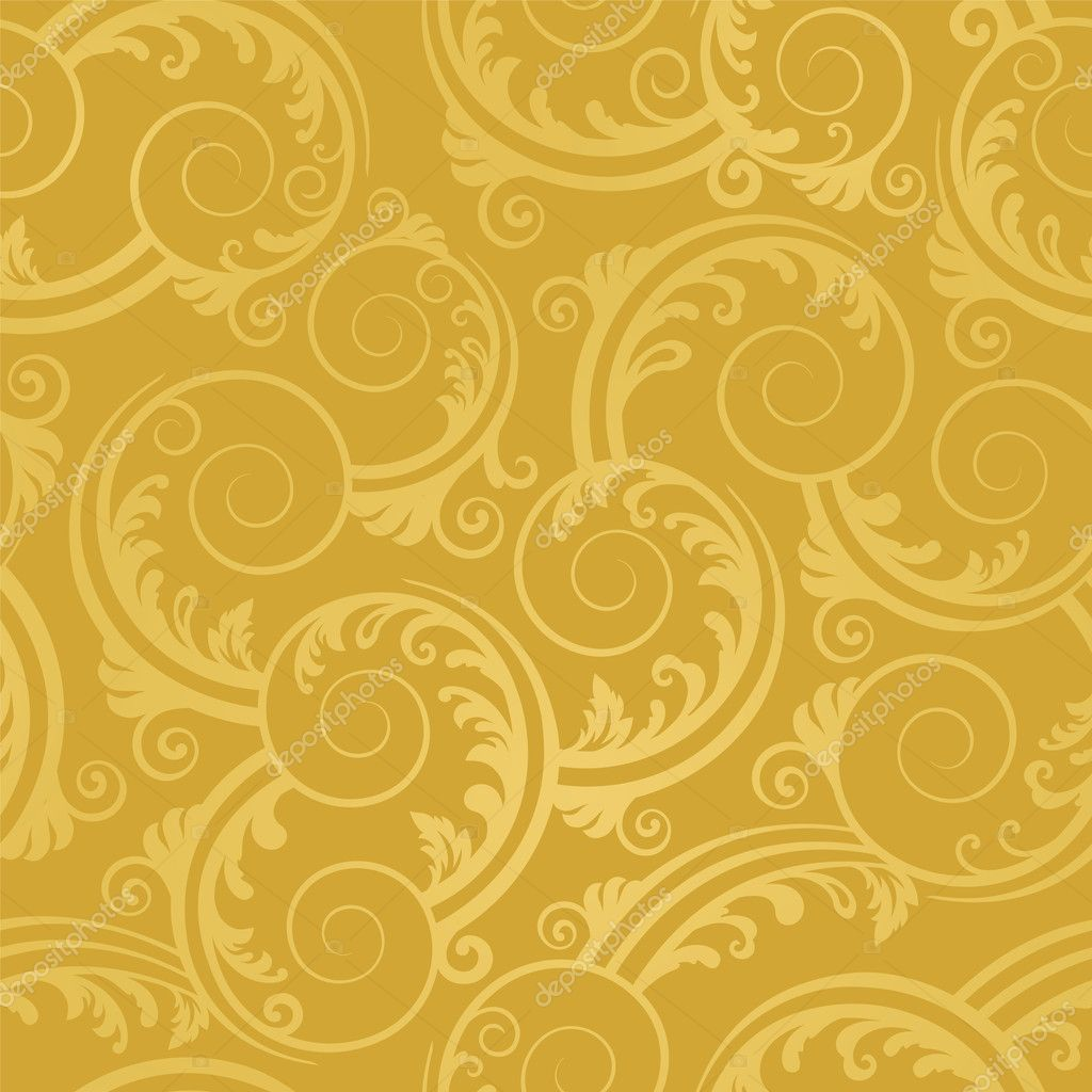 Seamless golden swirls and leaves wallpaper. This image is a vector illustration.  Stock Vector #4844397