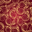 Stock Vector: Seamless red & gold swirls wallpaper