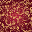 Seamless red & gold swirls wallpaper — Stock Vector #4851698
