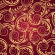 Seamless red & gold swirls wallpaper — Stock Vector