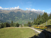 Cog-wheel train with landscape to Jungfraujoch — Stock Photo